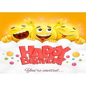 Amazon.com : Smile Emoji Background for Birthday Party 7x5 ...