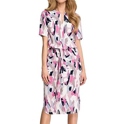 ABsolute Vestido Vendaje de Vestido para Mujer, Largo del Vendaje del Vestido con Cuello en V de Manga Larga con Estampado Floral: Amazon.es: Ropa y ...