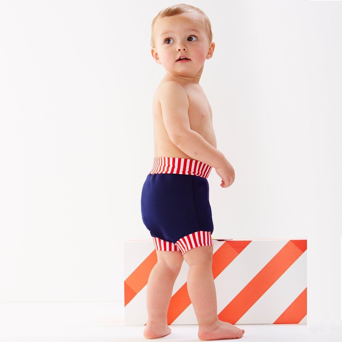 Large 6-14 Months, Navy Red Stripe Splash About Baby Neoprene Swim Diaper Reusable Swim