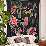 PYHQ Flowers Black Tapestry Wall Hanging Urban Hippie Bohemia Boho Art Polyester Fabric