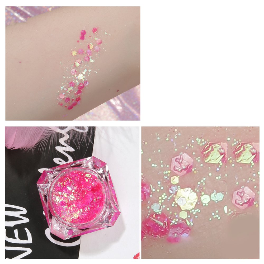 Body Glitter 6 Colors Holographic Chunky Glitter Long Lasting Fix Gel,COSMETIC GLITTER NEKOMI,Festival Beauty Makeup Face Body Hair Nails,Apply directly without glue by Nekomi (Image #5)