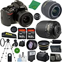 Nikon D5200 - International Version (No Warranty), 18-55mm f/3.5-5.6 DX VR, Nikon 55-200mm f4-5.6G ED DX Nikkor, 2pcs 16GB Memory, Case, Wide Angle, Telephoto, Flash