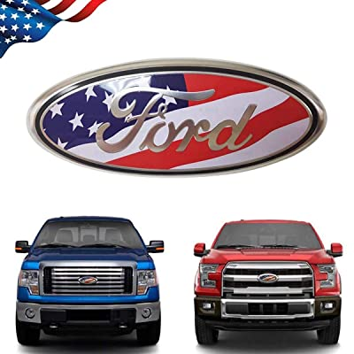 99 Carpro F150 Front Grille Tailgate Emblem for Ford, 9 inch American Flag Oval Decal Badge Nameplate for FORD 2004-2014 F250 F350, 11-14 Edge, 11-16 Explorer, 06-11 Ranger (US Flag Emblem): Automotive