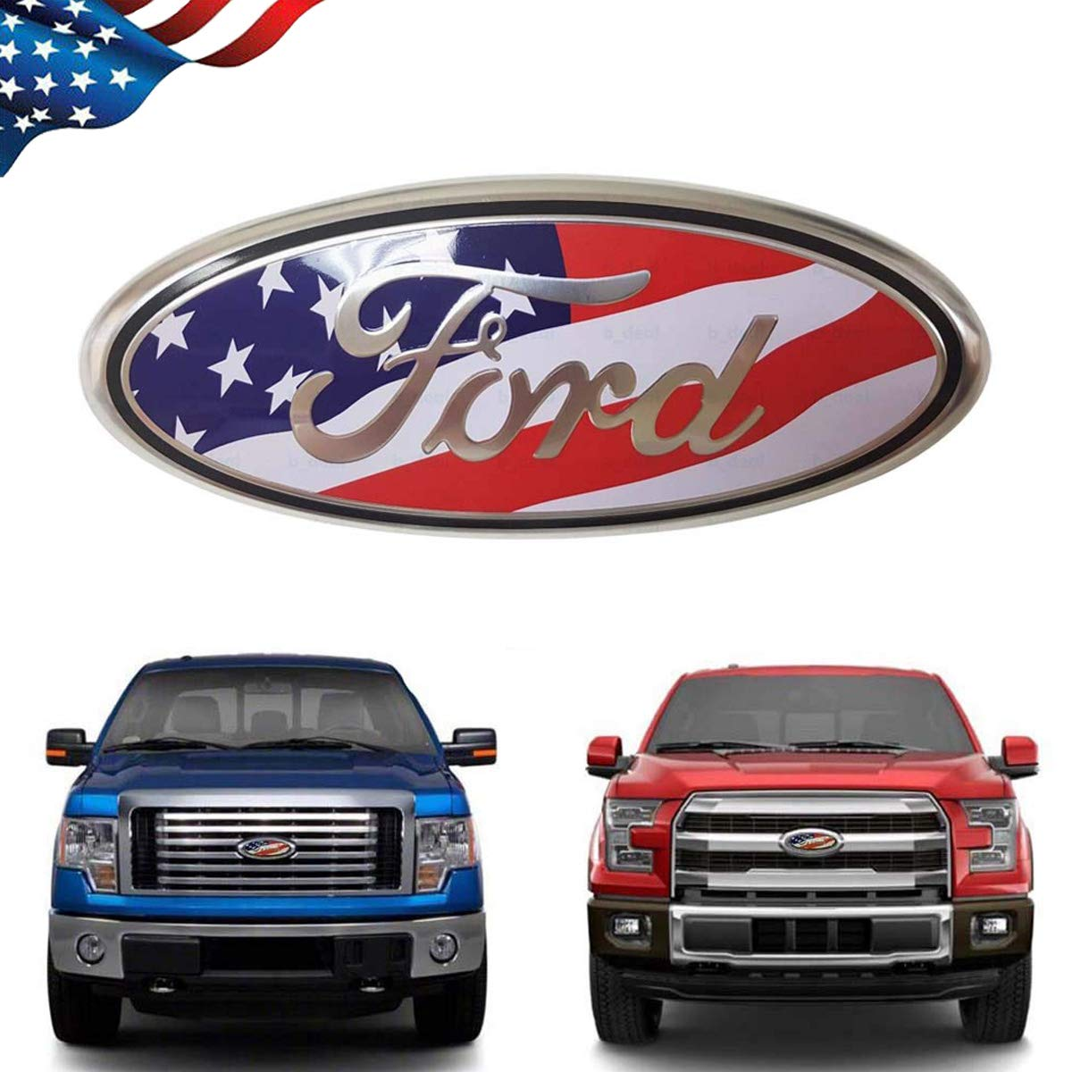 99 Carpro F150 Front Grille Tailgate Emblem for Ford, 9 inch American Flag Oval Decal Badge Nameplate for FORD 2004-2014 F250 F350, 11-14 Edge, 11-16 Explorer, 06-11 Ranger (US Flag Emblem) by 99 Carpro