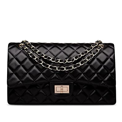 86ebcfd8856a Ainifeel Women's Genuine Leather Quilted Chain Bag Shoulder Handbags Purse ( Medium, Black)