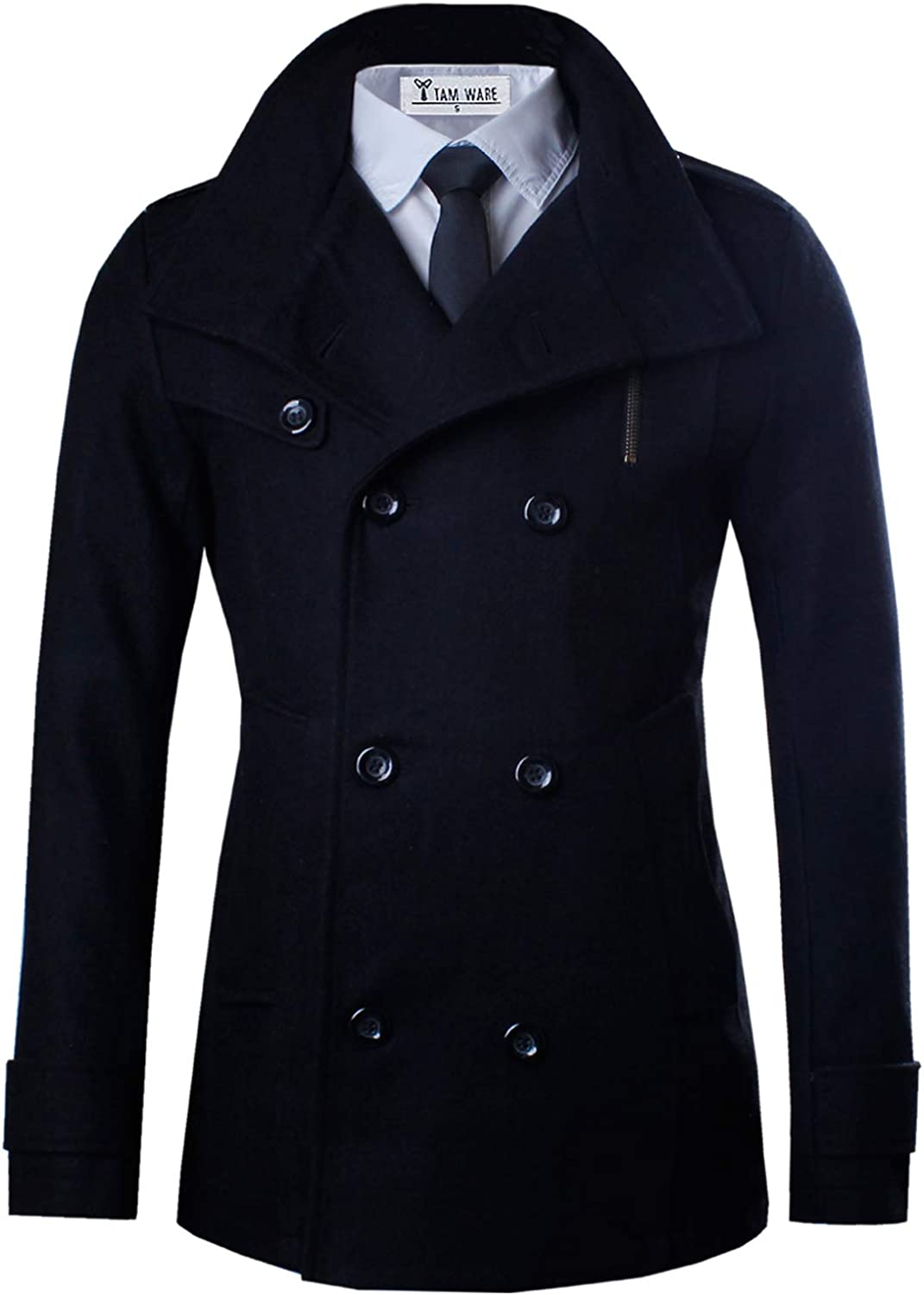 TAM WARE Mens Classic Wool Double Breasted Pea Coat