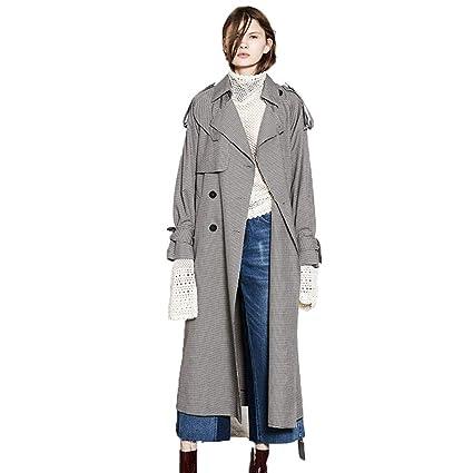 639c38465f2234 Impermeabile Cappotti Trench Coat Giacca da Donna con Risvolto Trench Lungo  Scozzese Doppio Petto con Lacci