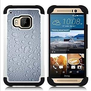 For HTC ONE M9 - Water Rain Window Droplets Grey Textile Art /[Hybrid 3 en 1 Impacto resistente a prueba de golpes de protecci????n] de silicona y pl????stico Def/ - Super Marley Shop -