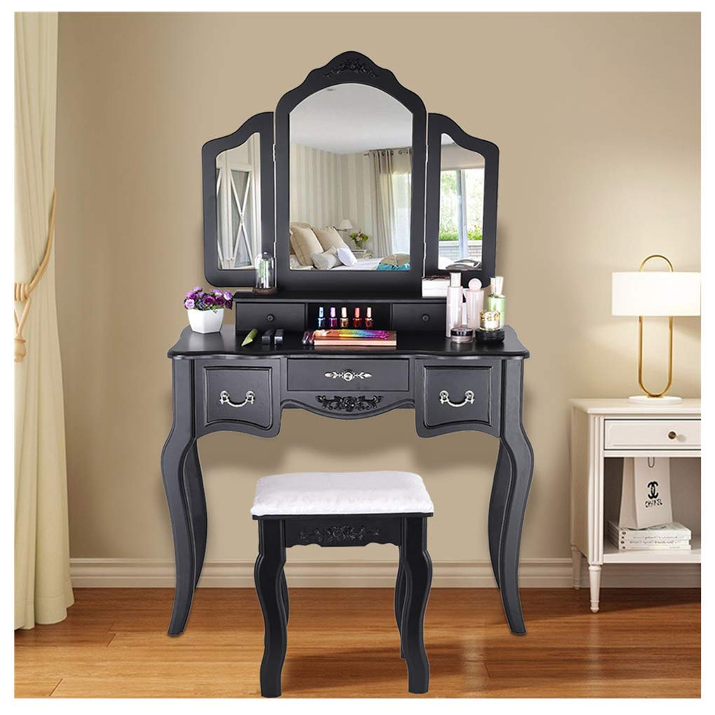 Midress Vanity Beauty Station Makeup Table 3 Mirrors and 5 Organization Drawers Makeup Dress Table with Cushioned Stool Set (Black) by Midress