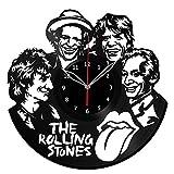 """Rolling Stones Vinyl Record Wall Clock Fan Art Handmade Decor Unique Decorative Vinyl Clock 12"""" (30 cm) #1"""