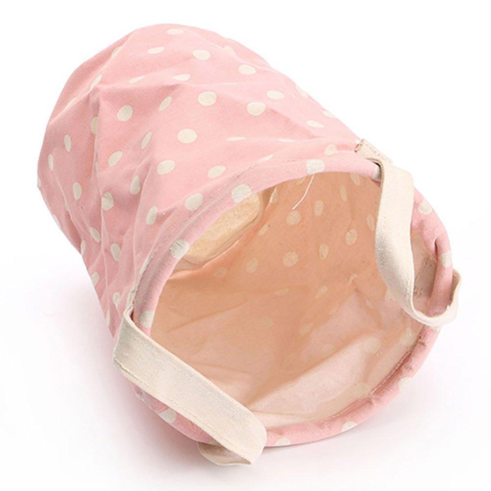 Borsa in cotone e lino lavaggio vestiti rotonda portabiancheria cesto portaoggetti pieghevole con manico, Cotone lino, Pink, medium Brussels08 TRTAZ11A