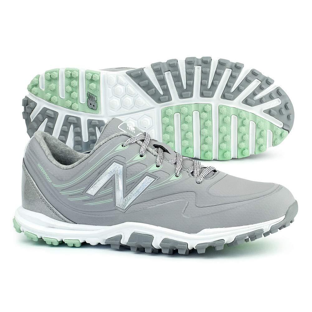 New Balance Women's Minimus WP Waterproof Spikeless Comfort Golf Shoe, Grey/Mint, 6.5 M