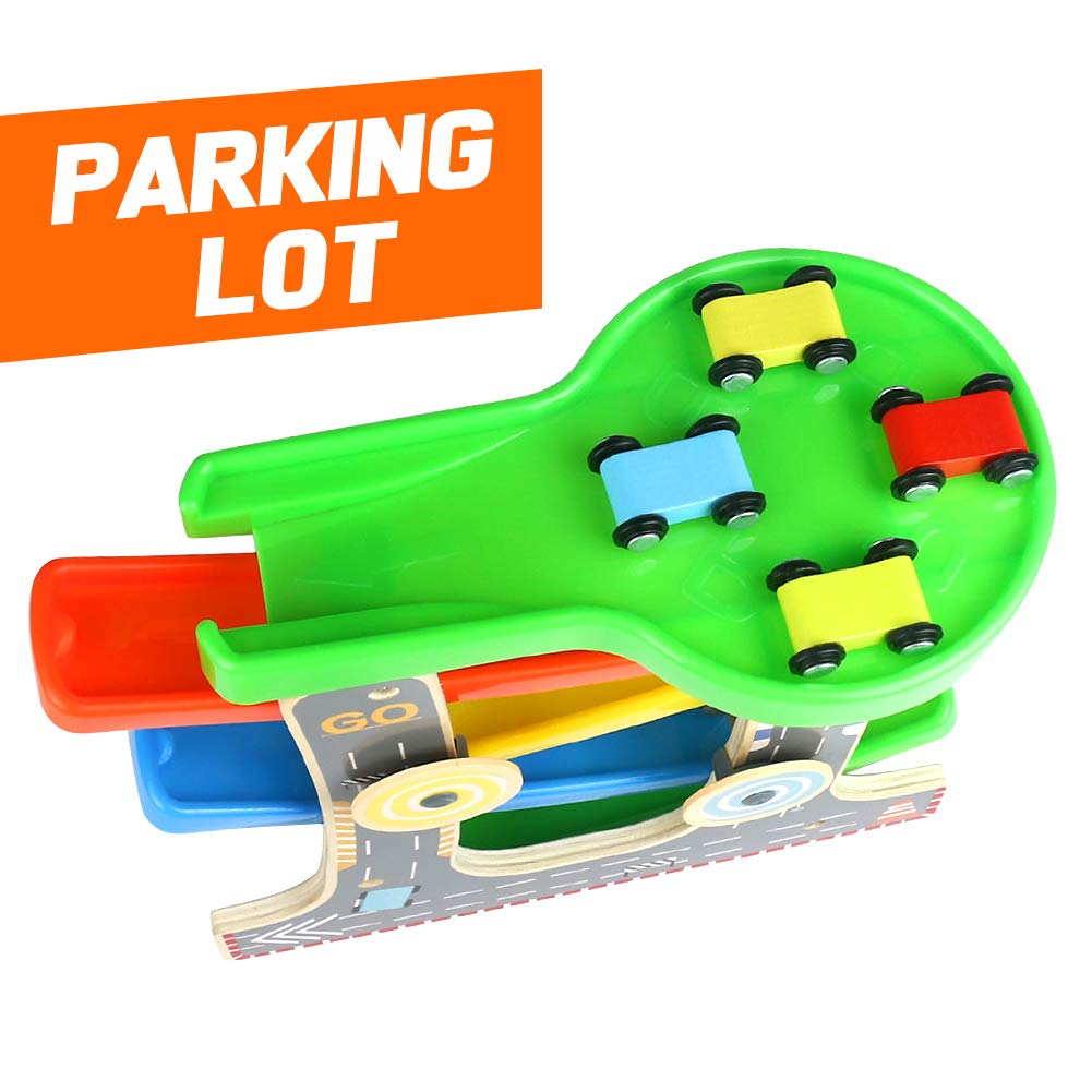 wooden toys click clack track car r zig zag cars slide track Modern Parking Garage wooden toys click clack track car r zig zag cars slide track garage parking set with 4 race vehicles for 3 years old congyuan toys factory xmas