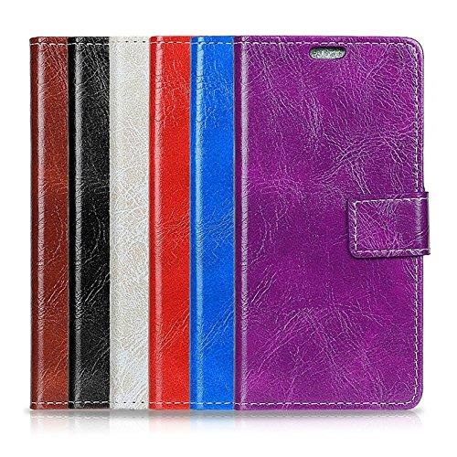XIAOGUA Cases & Covers, Para Samsung Galaxy C7 (2017) Funda protectora de cuero de la PU contraportada con soporte y ranuras para tarjetas y billetera ( Color : Brown ) Purple