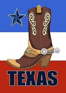 Toland Home Garden Texas Cowboy Boot 12.5 x 18 Inch Decorative Southern Star Garden Flag
