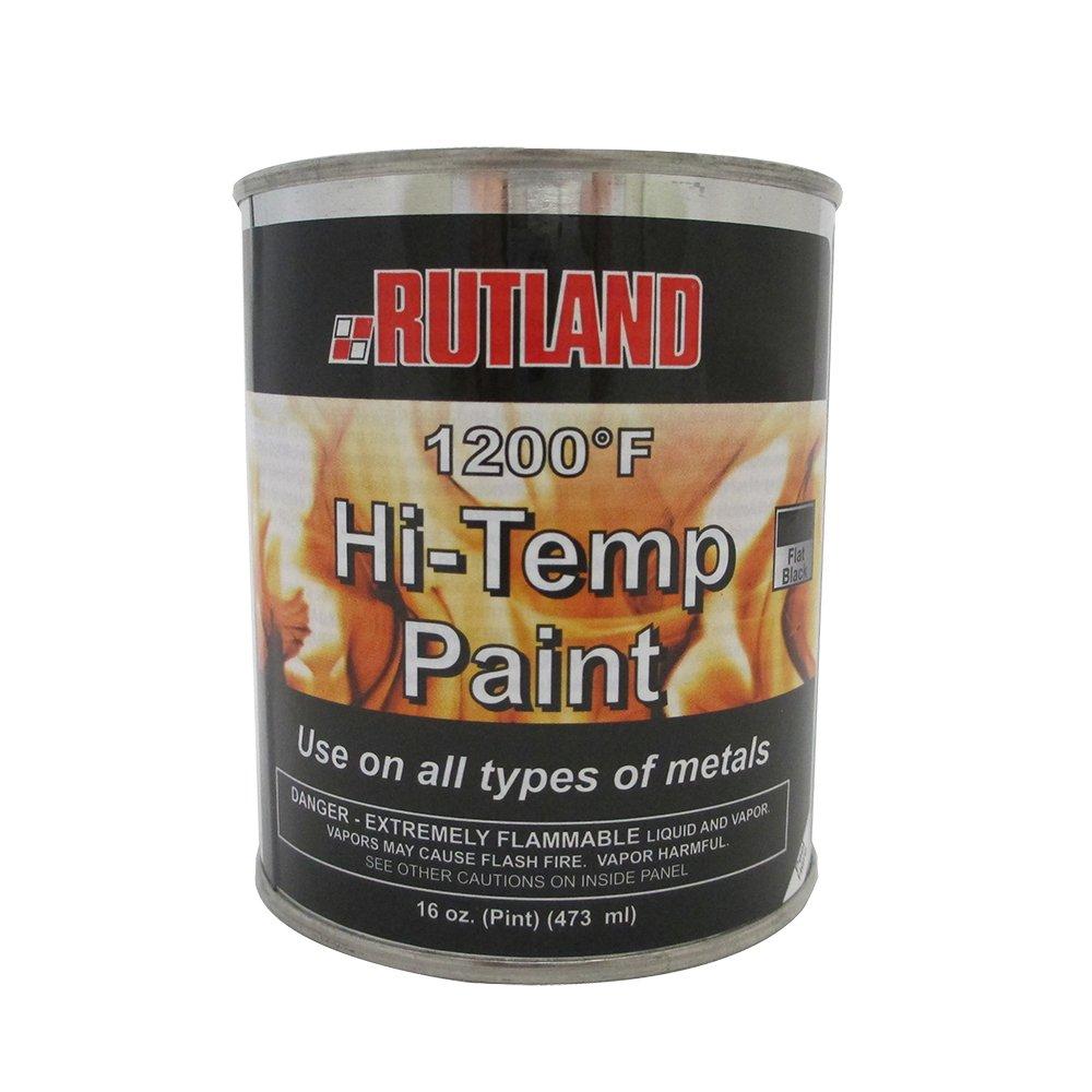 Rutland 1200-Degree F Brush-On Flat Stove Paint, 16 Fluid Ounce, Black