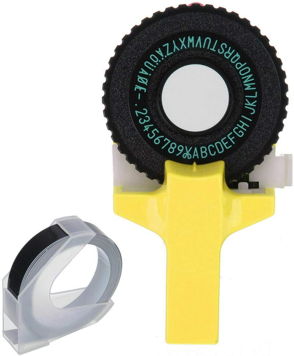 BAAQII Embossing Label Maker 3D-Mini-Etikettendrucker Handbuch DIY Lettering Machine Schreibmaschine Klicken Sie auf Small Model Label Maker f/ür DYMO Printer Cuting Tape Black