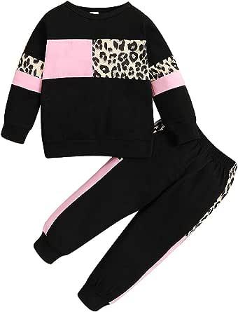 Conjunto de Sudadera de Manga Larga con Estampado de Leopardo para bebés + Pantalones de chándal
