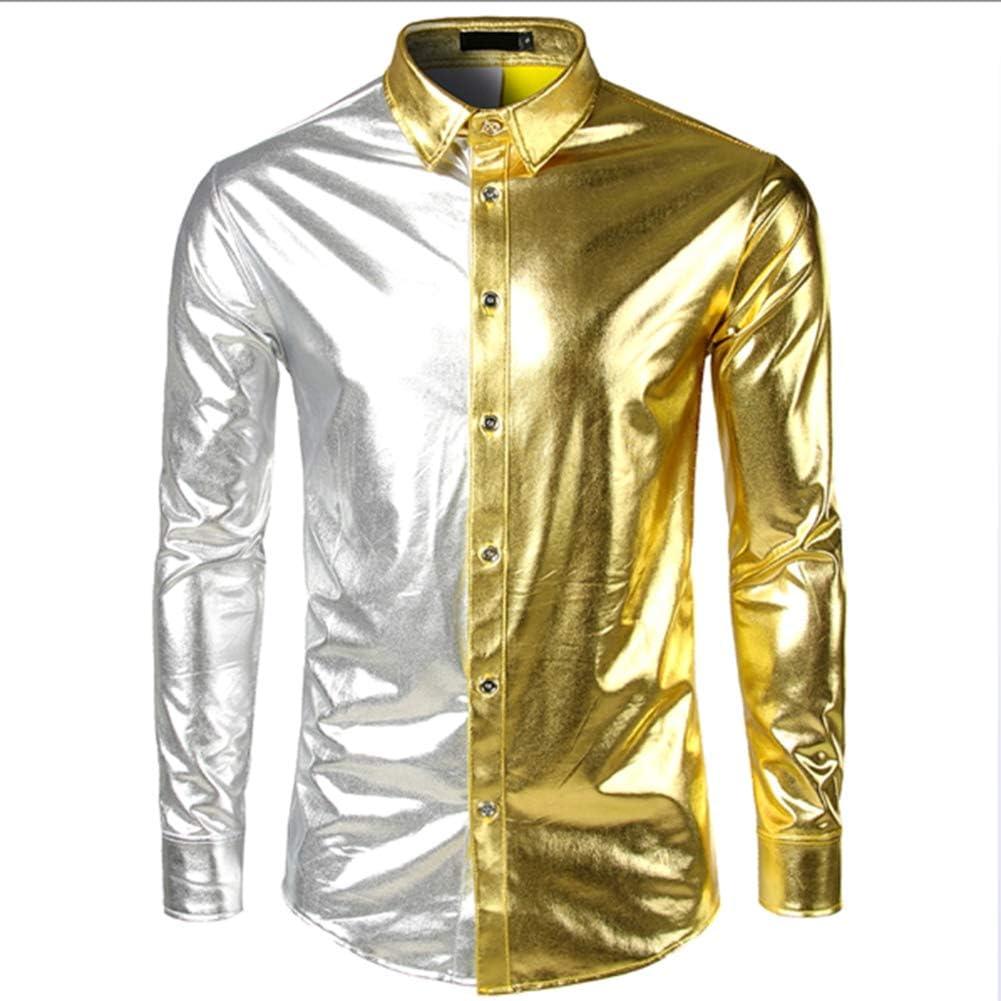 LISILI Camisa de Fiesta de Manga Larga para Hombre Disco ...