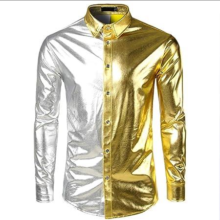 LISILI Camisa de Fiesta de Manga Larga para Hombre Disco metálico Brillante Discoteca Estilo Botón Abajo Camisas de Bowling Costura en Dos Colores,Oro,M: Amazon.es: Hogar