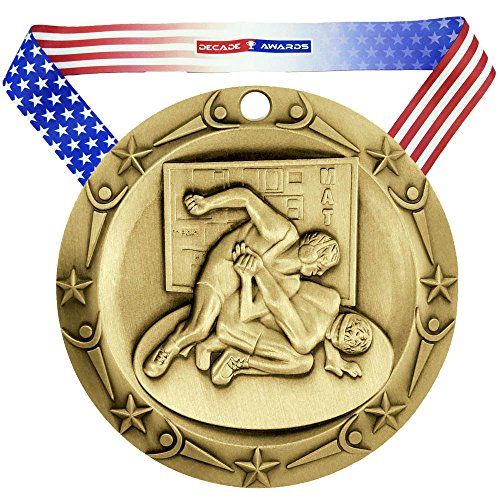 (Decade Awards Wrestling World Class Engraved Medal - Gold | WCM Wrestler First Place Award | Includes Stars and Stripes American Flag Neck Ribbon | 3 Inch Wide - Customize Now)