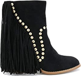 a99733261 Beast Fashion Ivanna-08 Gold Studded Long Fringe Block Heel Suede Mid Calf  Boots