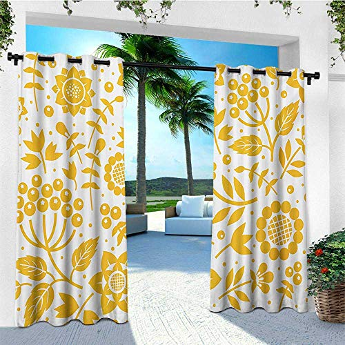 leinuoyi Yellow Flower, Outdoor Curtain Grommet, Rustic Composition with Berries Twigs Graphic Flora Nature Leaves Pattern, Fabric by The Yard W108 x L108 Inch Yellow White ()
