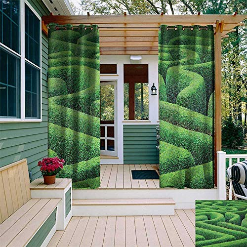 leinuoyi Garden, Outdoor Curtain Modern, Green Plant Maze Growth Ecology and Nature Theme Labyrinth Landscape Outdoors City Park, Outdoor Curtain Panels for Patio Waterproof W72 x L108 Inch Green ()