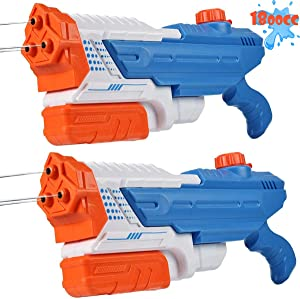Mitcien Water Guns, 3 Nozzles Big Power 1800CC (2 Pack) for Kids Adults, Water Squirt Gun Pool Toys for Teenage Boys Girls Water Fight