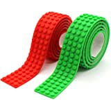 Reusable Silicone Self-Adhesive Building Block Tape, Compatible With Lego Collection Construction, Educational Inspire Imagination Toys, 4 studs (Green+Red)