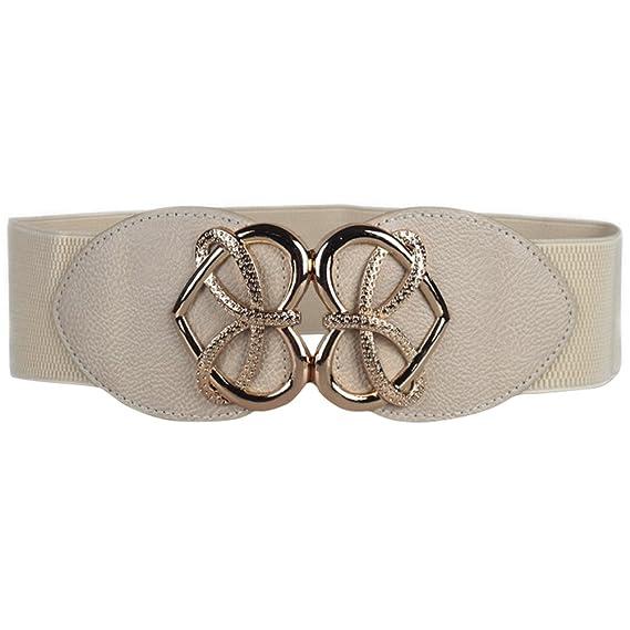 ishine cinturones mujer anchos Mujer Moda Vintage Arco Stretch Ancho Elástico Cinturón con Intaglio Hebilla