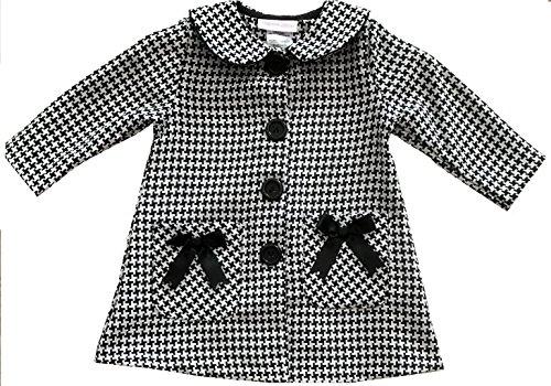 Bonnie Baby Baby Girls Jacquard Houndstooth Coat and Dress Set, Black/White, 6-9M (Coat Jacquard Dress)
