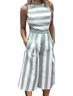 aabeb57268dc FANCYINN Women Stripe Print Sleeveless Zipper Back Long Jumpsuit Romper  Casual Style