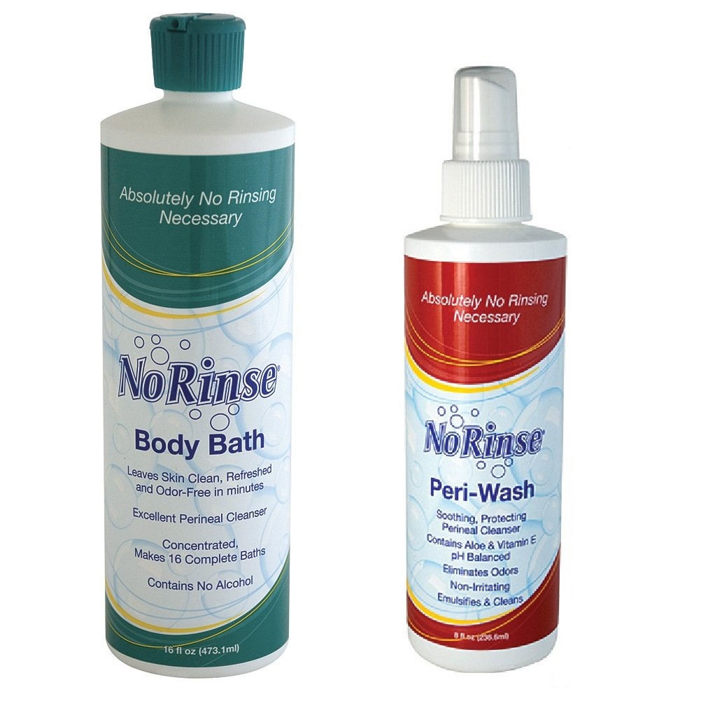 (Set) No Rinse 16 Ounce Body Bath and 8 Fl Ounce Peri-Wash Bathing Products