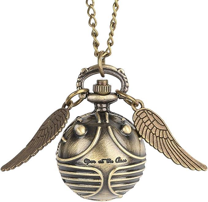 Montre de poche avec mini ailes de boule dorées avec porte clés, charmant collier et chaîne à quartz pour garçon et fille Emballée dans une pochette