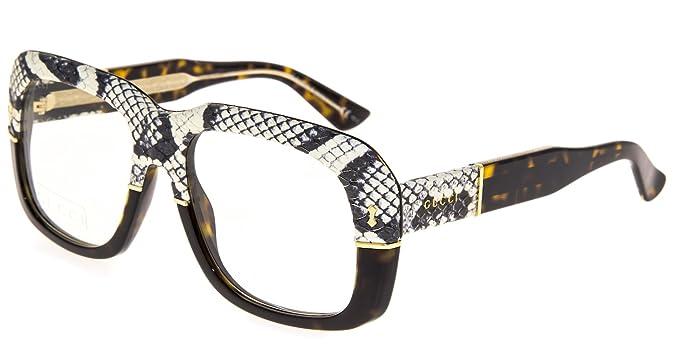 ab977eabc9a Amazon.com  GUCCI 1157 Square Ayers Eyeglasses Tortoise Amber Snake ...