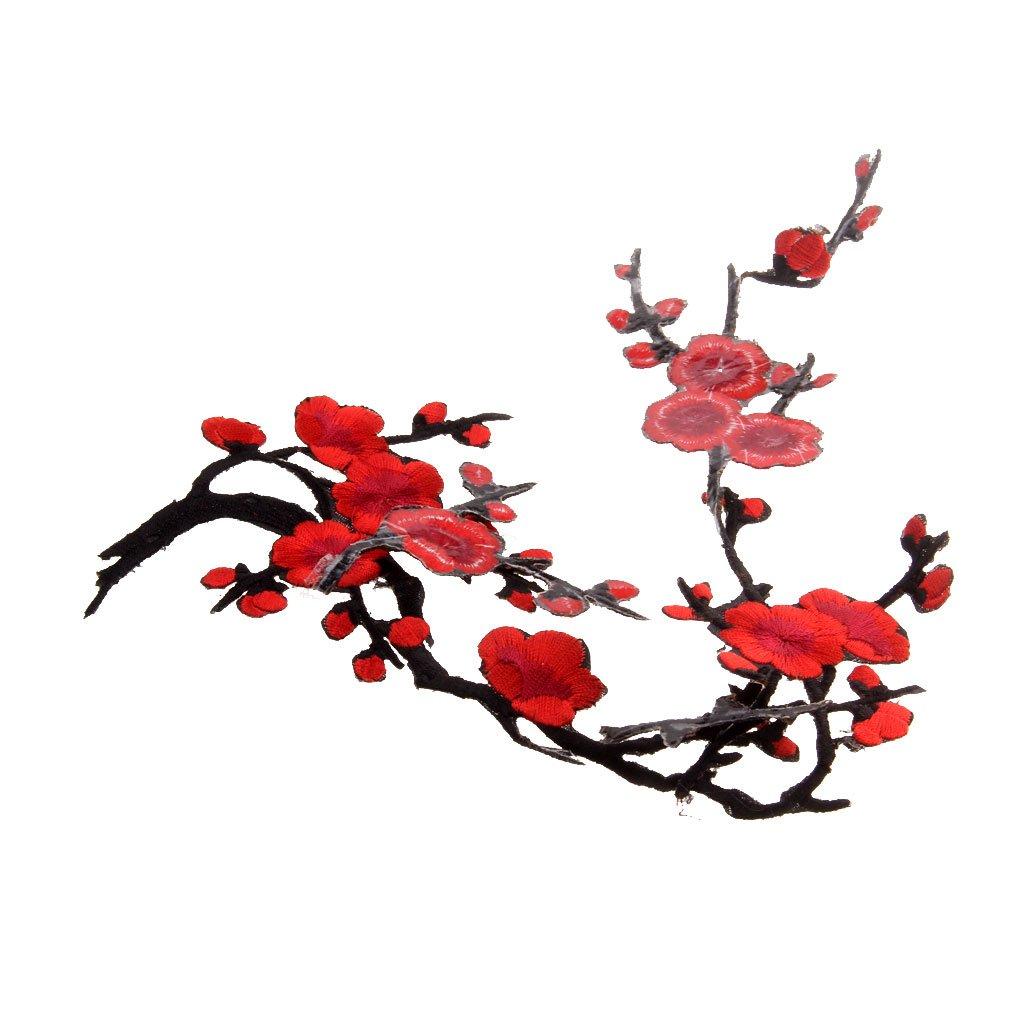 1Pcs Plum Blossom Flower Embroidery Lace Applique/Patch Motifs - Deep Red, 37cm*14cm Generic