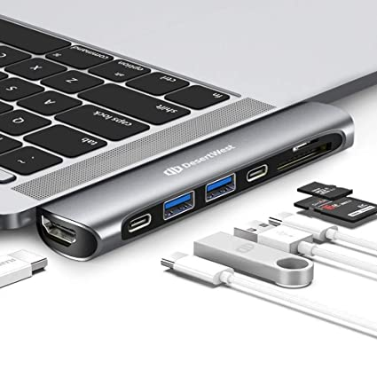 DesertWest Macbook Pro Adapter USB,Hub for MacBook Pro 2018/17/16,MacBook  Air 2018,with SD/Micro Card Reader,HDMI,Thunderbolt 3,USB C Port,USB 3 1