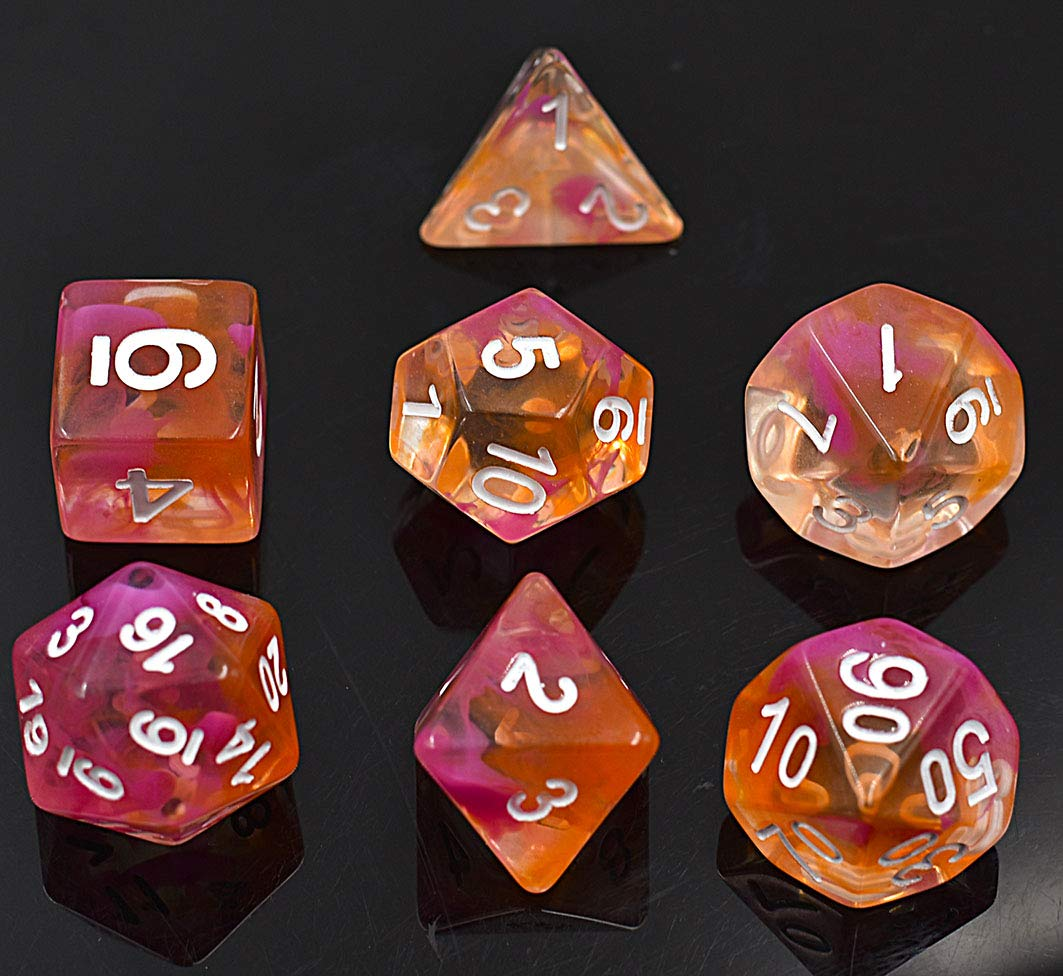 Yellow and Red Polyhedral 7-Die Dice Set Transparent DND Dice for Dungeons with Purple Pouch HUICHUANG