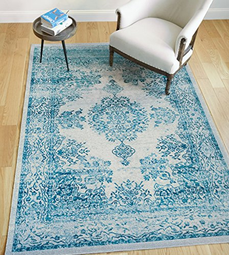 Lyon Blue Vintage Medallion Short Pile Kilim Style Modern 5x7 (5'3'' x 7'3'') Area Rug Antique Weathered Oriental Multi Color Pattern by Well Woven