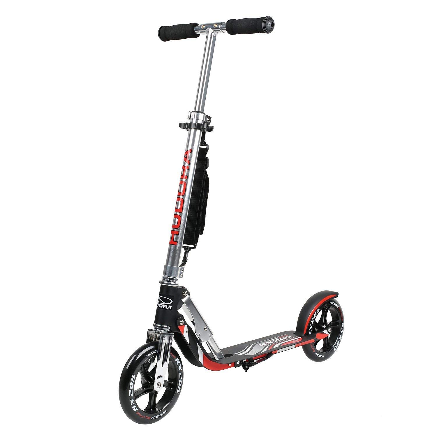 HUDORA 205 Self-Powered Kick Scooter for Adults Teens with Two PU Wheels Folding Mechanism Adjustable Height Rear Brake Non-Electric Glider Scooter by HUDORA