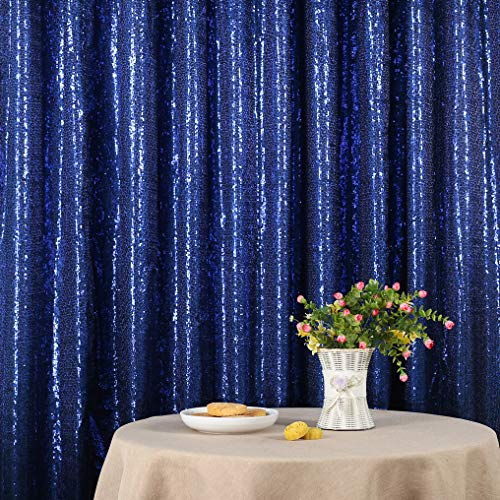 (Dark Blue Party Delight Satin Non-Transparent Sequin Backdrop, Photography, 6Ft x 6Ft )