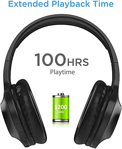 Bluetooth Headphones, LETSCOM 100 Hours Playtime Wireless Headphones Over Ear with Deep Bass, Hi-Fi Sound and Soft Earpads,Built-in Mic Wired Headset for Cell Phones PC Tablet Home Office-Black