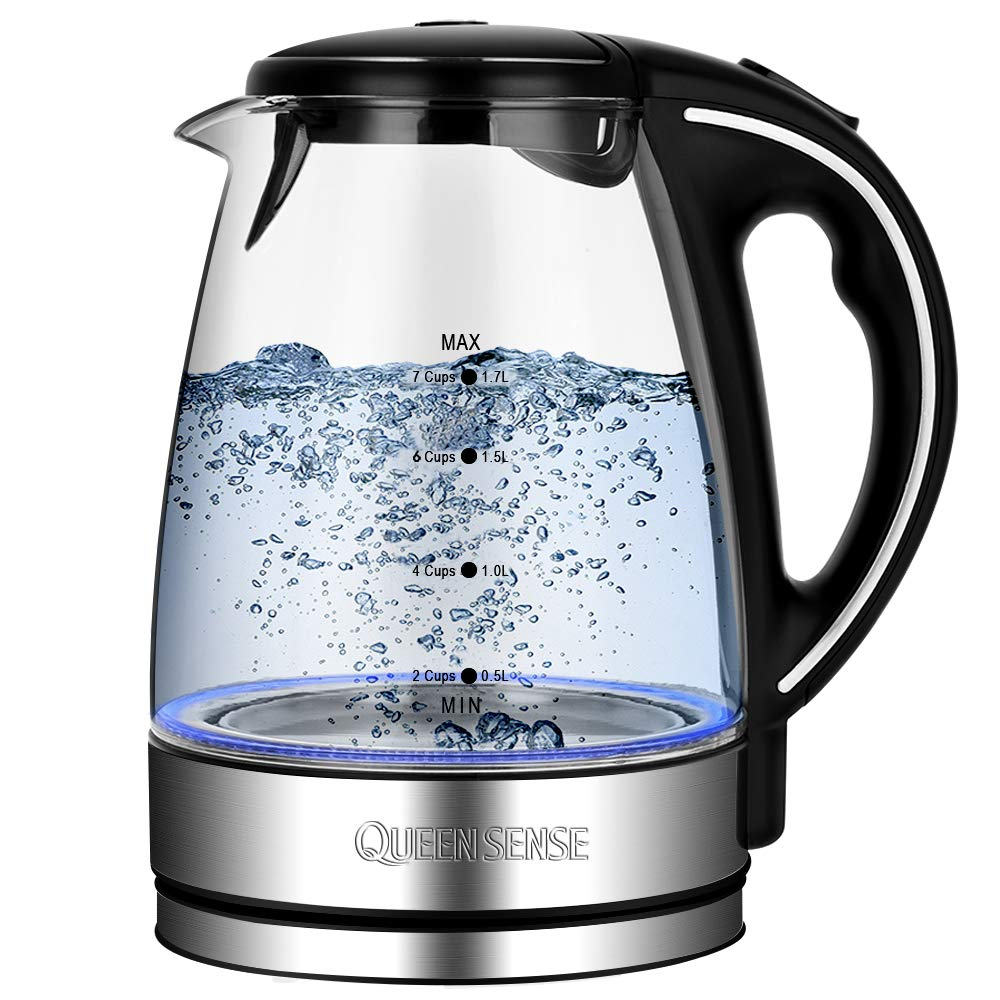 Electric Kettle-Water Kettle Tea Kettle, 1.7L(3.8 pint) 1500W, Glass Electric Kettle Fast Heating, Borosilicate Glass Teakettle with Food Grade Material, Boil Dry Protection & Automatic Shutoff by Queen Sense (Image #1)