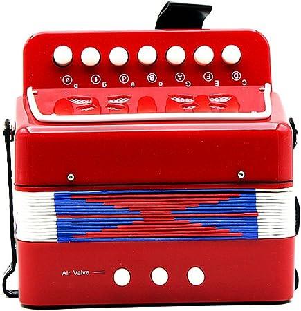 SODIAL Pequenos mini teclado ritmo acordeon instrumento Musical educativo banda juguete para ninos rojo