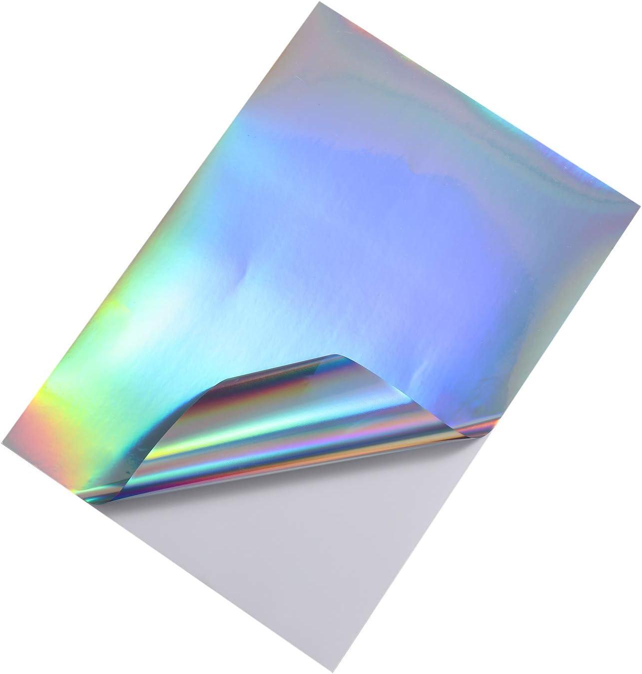 Dries Quickly Waterproof Sticker Paper Rainbow Vinyl Sticker Paper for Inkjet//Laser Printer Printable Vinyl Sticker Paper 20 sheet Holographic vinyl printing paper