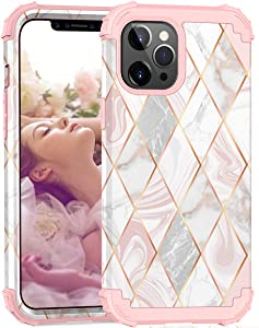 ZHK Compatible with iPhone 12 Case for Women, iPhone 12 Pro Case, Marble 3 Layer Heavy Duty Shockproof Protective Case Girls Stylish Cute Cover for iPhone 12/12 Pro 5G(6.1-inch,2020)-Rose Gold