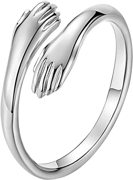 Hands Ring Sterling Hands Hands Jewelry Romantic Ring Sterling Silver Ring Hugging Hands Sterling Silver Ring Adjustable Ring Gift