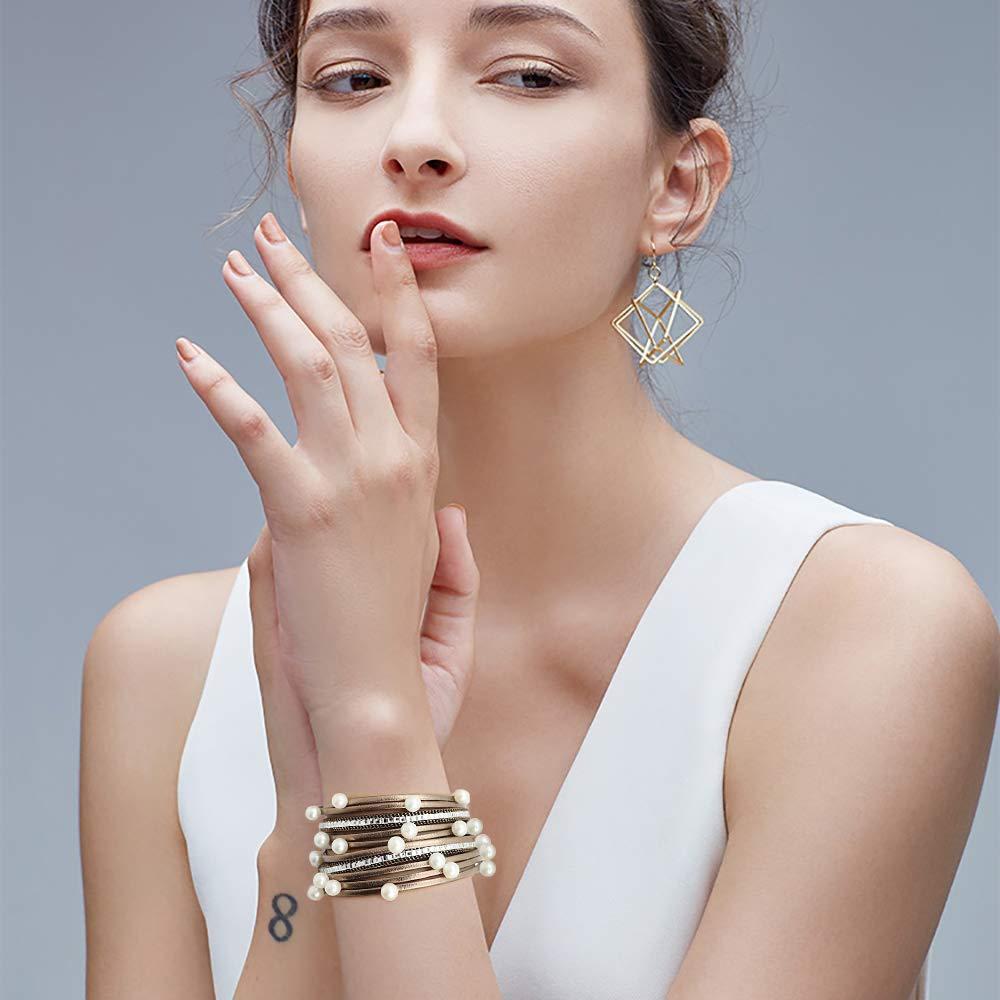 Gleamart Multi-Layer Pulsera de Cuero Perlas Wrap para Mujeres