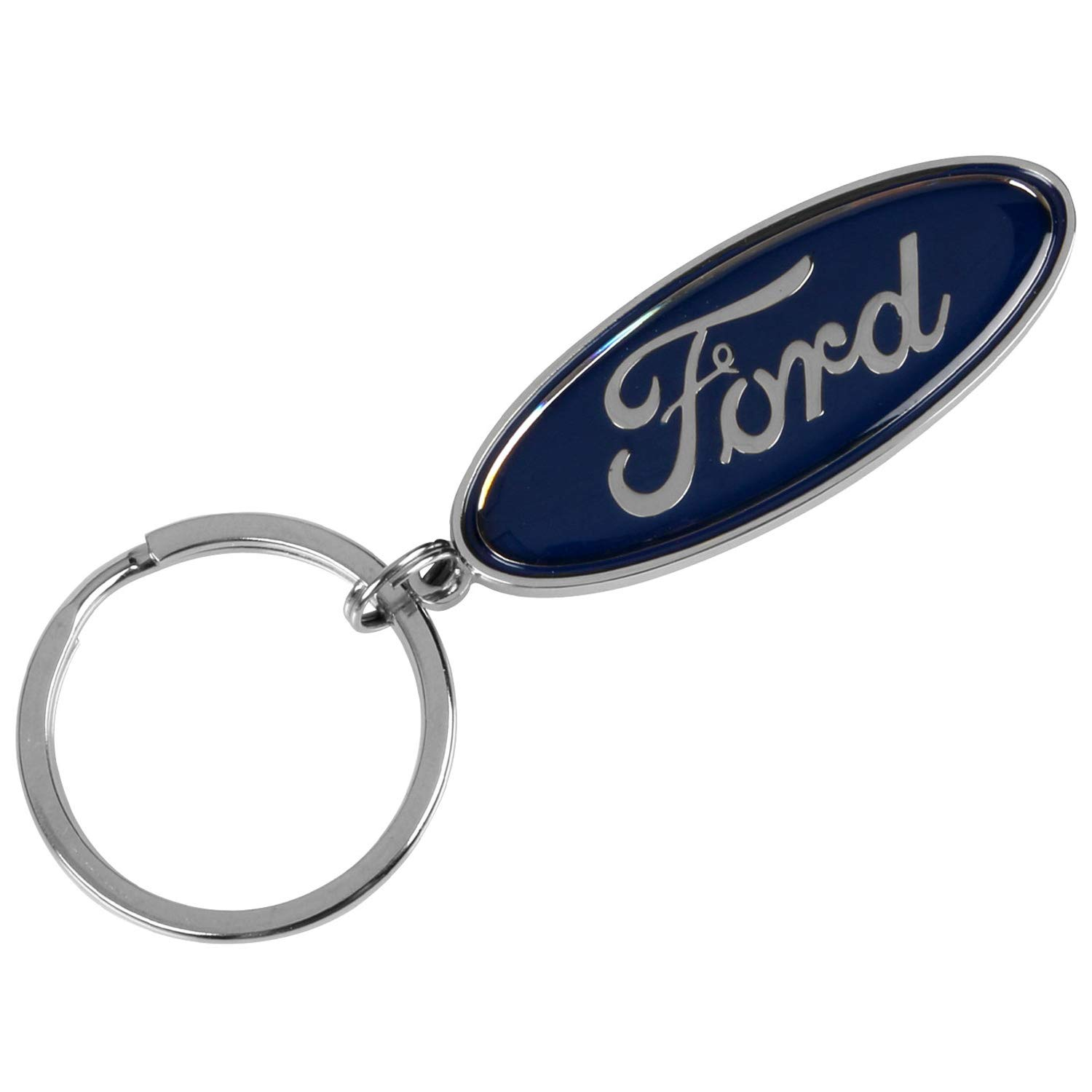 Compatible with Ford Blue Oval Key Chain Ring Fob with Racing Decal